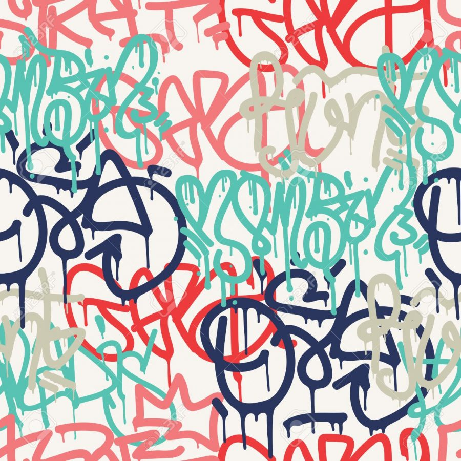 Colorful+seamless+pattern.+Graffiti+hand+style+old+school+doodles+street+art+illustration.+Composition+with+tags%2C+signs%2C+elements+for+skate+board%2C+street+clothing+streetwear+wallpapers+textile+fabric
